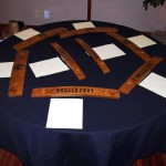 Barrel staves that were auctioned off for charity.